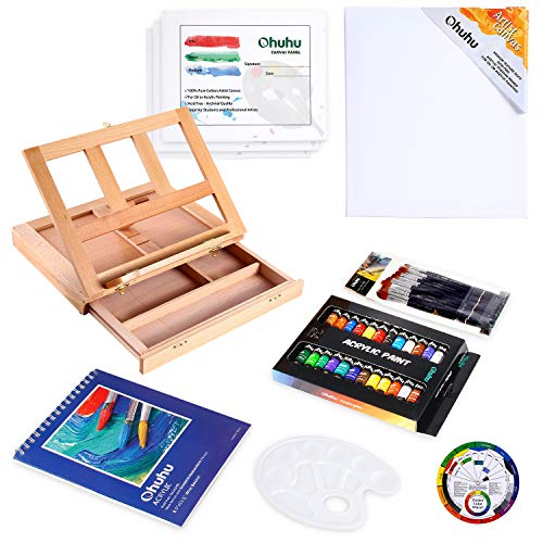 Acrylic Painting Set, Ohuhu 44pcs Artist Set with Wood Table-Top Easel Box, Art Painting Brushes, Acrylic Paint Tubes, and Acrylic Painting Pads for Artist Students Valentine's Day Back To School Gift