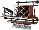 Botellero rústico apilable, Vino colgador de pared de madera vino de la combinación del gabinete decoración del hogar estante de la barra frontal de almacenamiento en rack estante del vino del cubilet