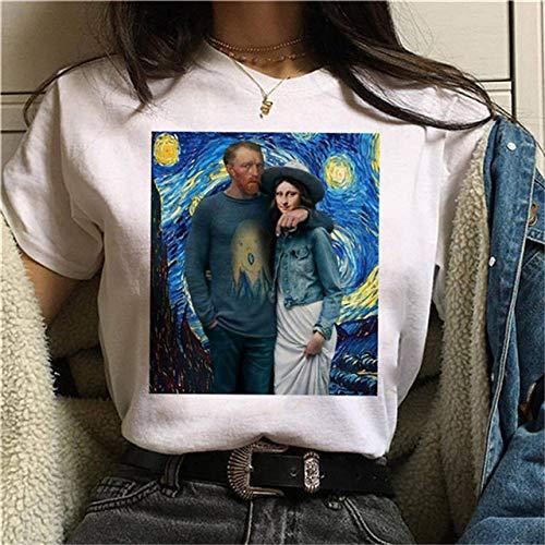 hjkg Courtes T-Shirts,Van Gogh Mona Lisa Motif T-Shirt Imprimé en Coton Confortable Respirant Mode Harajuku Vintage Streetwear Cool Lâche Col Rond Été À Manches Courtes Fille Femmes, XL