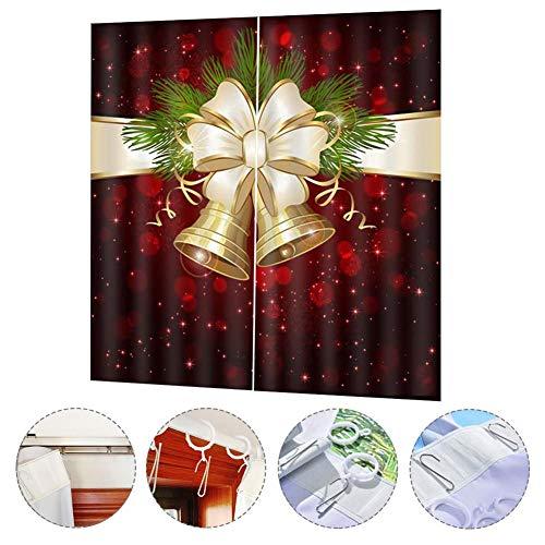 Further - Cortinas de Navidad con impresión Digital, diseño Grueso, Impermeables, Estilo navideño, para salón,...