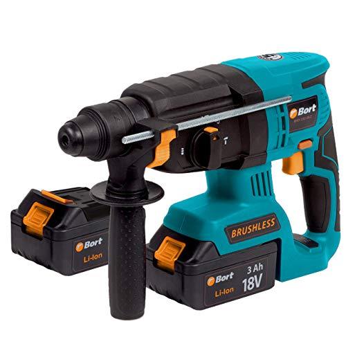 Bort Akku Bohrhammer BHD-18Li-BLZ inkl. 2x Akku und Schnell-Ladegerät, 3Ah, Schlagenergie: 2.2 J, Bohr-Ø Beton max: 26 mm, SDS-Plus, Koffer
