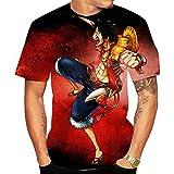 Camisetas,Camiseta De Una Pieza Luffy Anime para Hombre/Mujer Cuello Redondo Transpirable Estampado Unisex Manga Hort Color 2 Rojo S