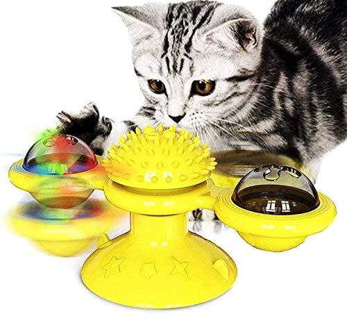 Qsnn Katzenspielzeug Windmühle, Katze Spielzeug Beschaftigung mit Katzenminze für Katze und Kätzchen, Catnip LED Interaktives Katzenspielzeug zu Spielen, Massage und Zähne Putzen - Gelb1