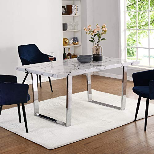 Cherry Tree Furniture BIASCA 6-Seater High Gloss Marble Effect Dining Table with Silver Chrome Legs (White)