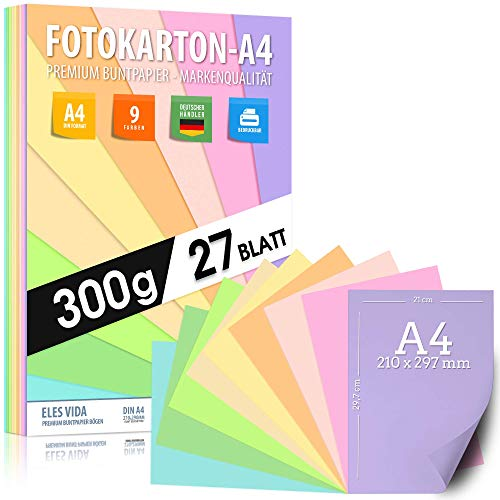 Buntes Papier Pastell Fotokarton DIN A4 – 300g - 9 Farben – Festes Papier - Farbige Pastel Blätter für Schule, Kinder & DIY Bögen, Bastel Zubehör - Geschenke, Buntpapier Pastellfarben 27 Blatt