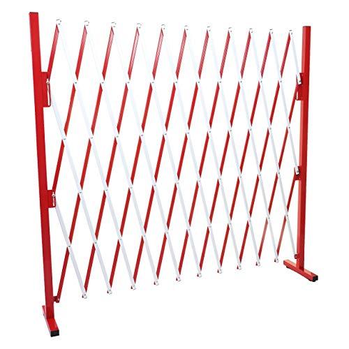 Mendler Absperrgitter HWC-B34, Scherengitter Zaun Schutzgitter ausziehbar, Alu rot-weiß ~ Höhe 153cm, Breite 36-300cm