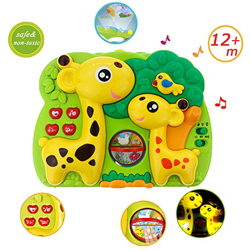 Giraffe Dream Soother Crib Toy - INvench 2 in 1 Nightlight Sleep Soother Slumber Buddies with Dual Projection and Melodies Christmas Gift (Yellow)
