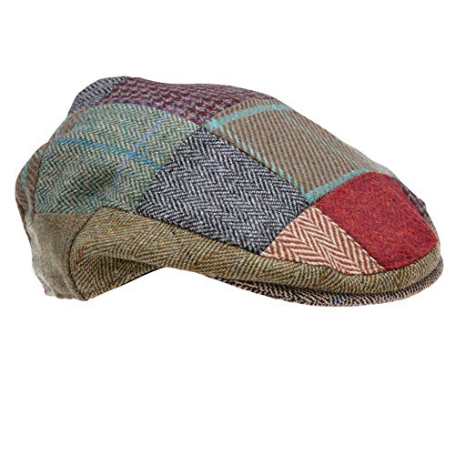 Genuine Tweed Patch Flat Cap Men and Women Made by Celtic Weave of Scotland, Similar to Irish and HarrisTweed (Large)