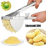 Fthlin3 Kartoffelpresse Spätzlepresse Kartoffelstampfer Set aus Edelstahl Einfach zu säubern mit 3 austauschbaren Einsätzen (Fein/Mittel/Grob)