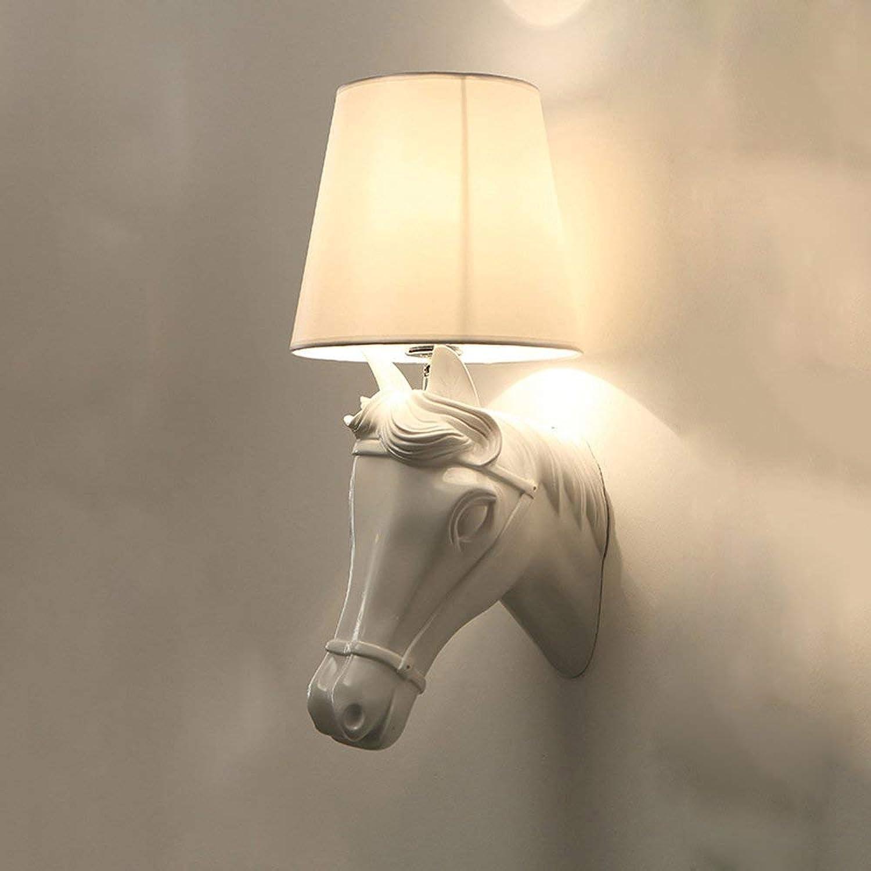 WENYAO Weiß Horse Headlights Bedside Bedroom Living Room Hallway Club KTV Engineering lamp Decoration Modern Minimalist Resin led Wall lamp