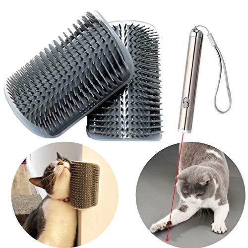Foyozisun Cat Self Groomer, 2 Packs Wall Corner Cat Brushes with Interactive...