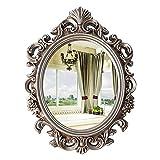 Espejo De Pared Decorativo, Espejos Colgantes De La Vendimia Para La Decoración De La Cómoda De La Sala De Estar Del Dormitorio, Oro Oval Antiguo 21.3'w X 29.5' L(Color:Plata antigua)