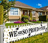 Large We are So Proud of You Banner, 2020 Graduation Party Supplies Decorations, Congratulations Banner, Congrats Banner, Graduation Decoration Black White and Gold, Outdoor Indoor (9.8 x 1.6 feet)