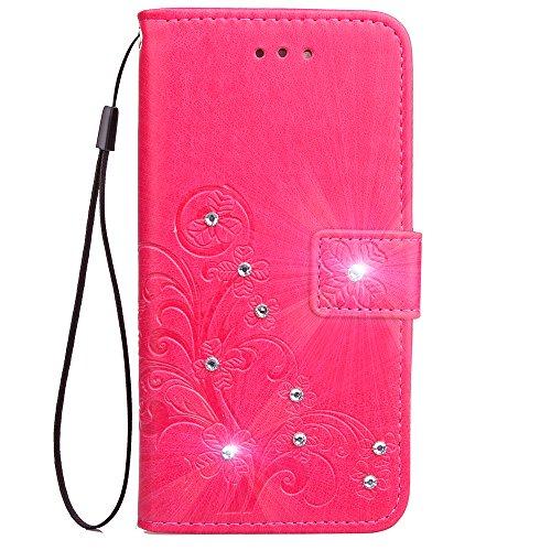 Lomogo Coque LG G8 ThinQ Portefeuille, Housse en Cuir avec Porte Carte Fermeture par Rabat Aimanté Antichoc Étui Case pour LG G8 - LOSDA081065 Rose Rouge