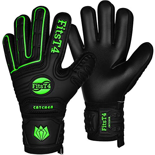 FitsT4 Torwarthandschuhe mit Fingersave-Schutz, Super-Grip, Torhüter Keeperhandschuhe für Kinder Jungen Erwachsene - Diverse Größen + Farben , Schwarz/Limonengrün , 7