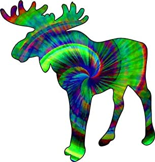 ION Graphics Moose Decal - Tie Dye Moose Vinyl Sticker - Moose Bumper Sticker - Moose Decoration - Perfect Alaska Maine Funky Moose Gift - Made in The USA Size: 4.800