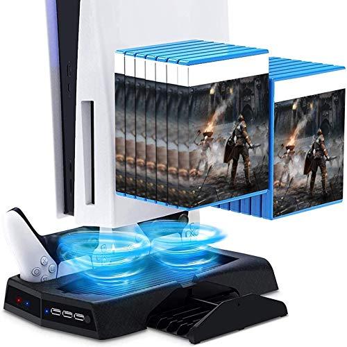 RIXOW Soporte Vertical para PS5 con 2 Ventiladores de Refrigeración, 2 Estación de Carga para Controlador para Sony Playstation 5, con 14 Bandejas de Almacenamiento de Juegos Retráctiles