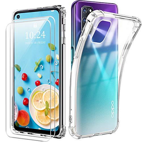 Reshias Hülle kompatibel mit Oppo A72,Weich Transparent TPU Silikon Anti-Fall Handyhülle Schutzhülle mit Zwei Gehärtetes Glas Schutzfolie Bildschirmschutzfolie für Oppo A72 / A52 (6,5 Zoll)