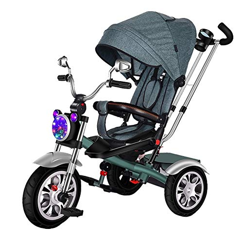 GY Children's Tricycle Children's Tricycle Bicycle-1-3-6 Years Old Baby Stroller Baby Light Bike Rotatable Seat Best Gift,Detachable Guardrail,Removable Canopy (Color : Green)