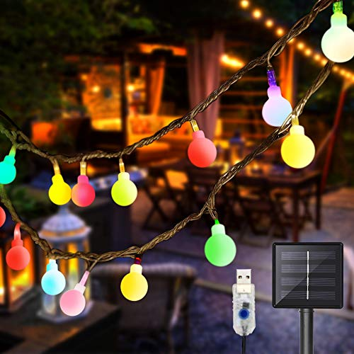 DeepDream 11 Meter 60 LED Lichterkette Außen Solar/USB wiederaufladbar,8 Modus Wasserdicht Außen/Innen für Garten Hochzeit, Balkon, Haus, Weihnachten Deko, Bunt