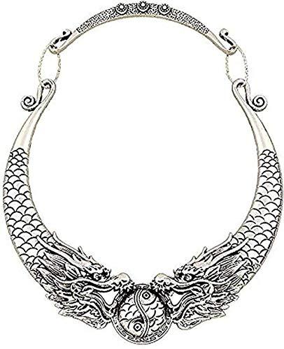 LBBYLFFF Collar Bohemio étnico declaración Mujeres 2019 Caliente Gitano Vintage Doble dragón Collar baúl joyería Collier niña niño Collar