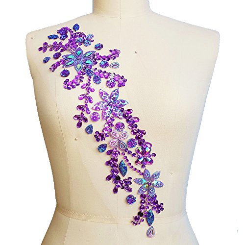 Pure Handmade 10x42cm Bright Crystal Patches Sew-on Rhinestones Applique Aesigns with Stones Sequins Beads DIY for Wedding Dress Decor Accessory Belt Waist Decoration (Purple)