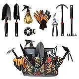 Garden tool set,10pcs Upgrade Alloy Horticulture Gardening Tools with Fashion Flower Style Storage Yard Tool Organizer Handbag,Soil Shovel Weeding Rake for Digging, Planting and Pruning,Gift for Women