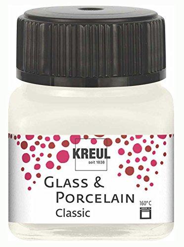 Kreul 16230 - Glass & Porcelain Classic elfenbein, im 20 ml Glas, brillante Glas- und Porzellanmalfarbe auf Wasserbasis, schnelltrocknend, deckend