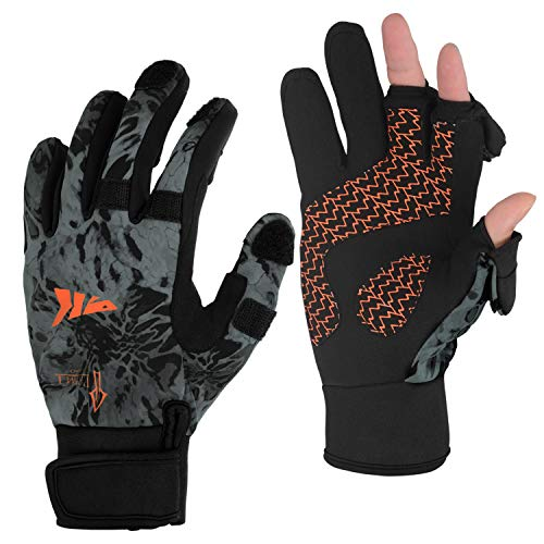 KastKing Mountain Mist Fishing Gloves – Cold Winter Weather Fishing Gloves – Fishing Gloves for Men and Women – Ideal as Ice Fishing, Photography, or Hunting Gloves(Blackout, X-Large)