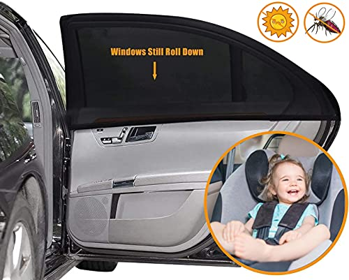 Car Window Shade, (2 Pack) -21'x14' Car Seat Sun Shade Cover, Car Window Screens Covers and Blocks Out Heat & Sun for Baby or Child, Car Side Window Shade