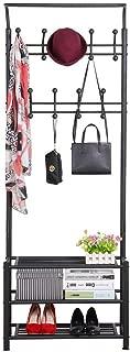 Yaheetech Hall Tree Metal Entryway 18 Hooks Coat Rack with 3-Tier Shoe Rack Bench Hat Umbrella Stand Black