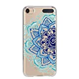 Coque Ipod Touch 5 Touch 6 Mandala Bleu Aztec Ethnique Fleur doodling Transparente