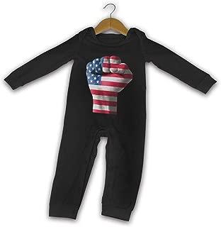 Popular USA Flag Fist Newborn Girl Boy's Baby Romper Manga Larga Bebé