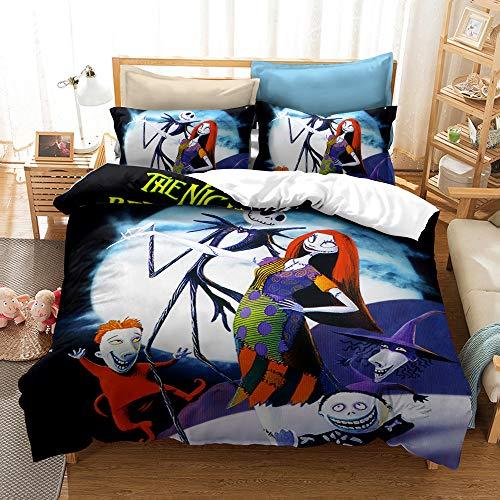 YBBY-U Juego de ropa de cama infantil, diseño de Nightmare antes de Navidad (Y05, 200 x 200 cm + 75 x 50 cm x 2)