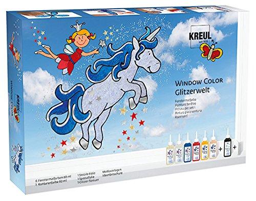 Kreul 42844 - Window Color Set Glitzerwelt, für kleine und große Kreative, 6 x 80 ml Fenstermalfarben, 80 ml Konturenfarbe, 2 verschiedene Folie, Glitzerstreu silber, Motivvorlagen und Ideenbroschüre