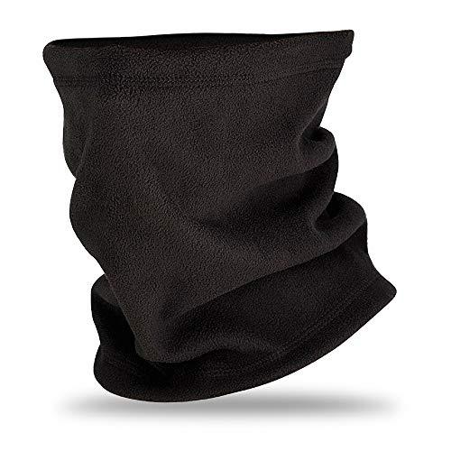 Elite Neck Warmer Fleece Gaiter Tube Heavyweight Winter Head Scarf Face Mask (Black, L/XL)