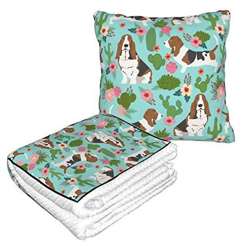 Manta de almohada de terciopelo suave 2 en 1 con bolsa suave Basset Hound Cactus Floral Perro Basset Hound Cactus Floral Cactus Funda de almohada azul para casa, avión, coche, viajes y películas