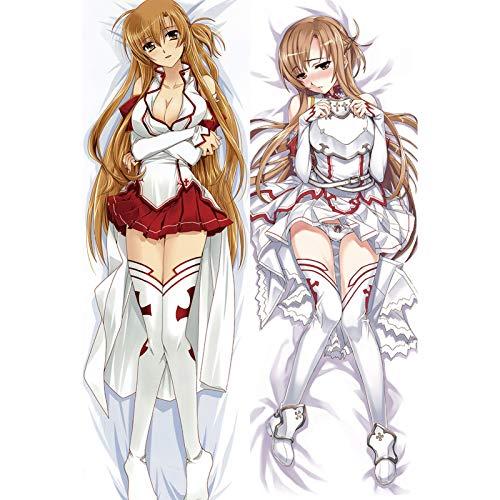 HQHQH Sword Art Online Yuuki Asuna Funda de Almohada de Cuerpo de Anime Abrazos de Doble Cara Funda de Almohada (Piel de melocotón, 150x50cm)