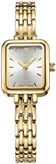 LZRDZSW Women's Quartz Watch with Silver Dial Analogue Display and Gold Stainless Steel Bracelet,Mini Square Dial,Mesh Steel Strap Watch,Simple Temperament Rectangular Bracelet Watch easy-to-wear desi