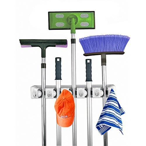 Mop and Broom Holder 5 Position with 6 Hooks Garage Storage Holds up to 11 Tools Storage Solutions for Broom Holders and Garage Storage Systems Broom Organizer for Garage Shelving Ideas