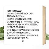 Wunderpixel Holzbild Toiletten-Regeln - 15x15x2cm zum Hinstellen/Aufhängen, echter Fotodruck mit Spruch auf Holz - schwarz-weißes Wand-Bild Aufsteller zur Dekoration Zuhause/Geschenk-Idee