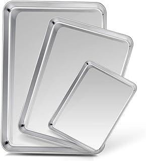 TeamFar Baking Sheet Set of 3, Stainless Steel Cookie Sheet Baking Tray Pan, Healthy & Non Toxic, Mirror Finish & Rust Free, Easy Clean & Dishwasher Safe