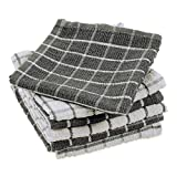 DII Terry Combo Windowpane Dishcloths Absorbant, Multi-Use, Fast Drying and Machine Washable, 12x12', Gray 6 Piece