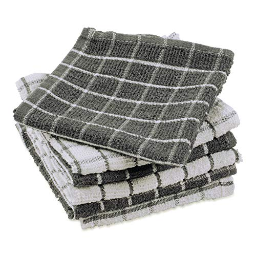 DII Terry Combo Windowpane Dishcloths Absorbant, Multi-Use, Fast Drying and Machine Washable, 12x12, Gray