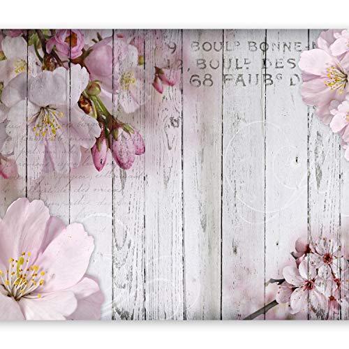 murando Fototapete Blumen 300x210 cm Vlies Tapeten Wandtapete XXL Moderne Wanddeko Design Wand Dekoration Wohnzimmer Schlafzimmer Büro Flur Blume rosa pink Holz Bretter b-A-0202-a-b