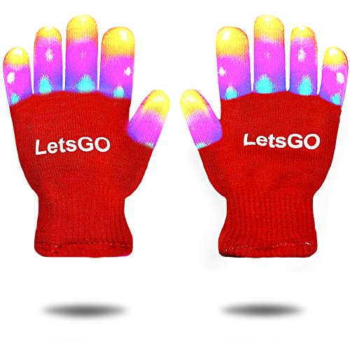 dmazing Ideas for 7-12 Years Old Girls Boys, Multicolor Glowing Flashing Light Up Gloves Toys for 3-10 Years Old Boys Girls Party Easter Gifts for Kids Stocking Fillers Red