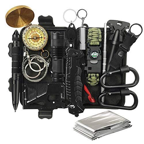 DINOKA Outdoor Survival Kit 17 in 1 Multifunktional Outdoor Kit mit Messer Taschenlampe f¨¹r Camping Bushcraft Wandern Jagden Outdoor Abenteuer