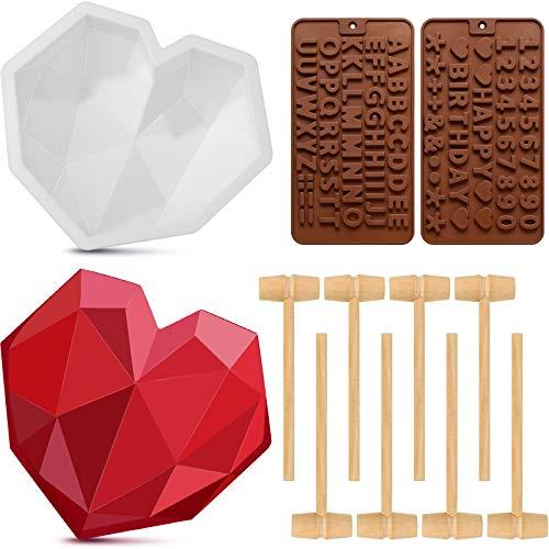 Molde de Pastel de Silicona con Forma de Corazón de Diamante y Molde de Silicona para Letras y Molde de Chocolate Número con 8 Mini Martillos de Madera para Herramientas para Hornear Cocina