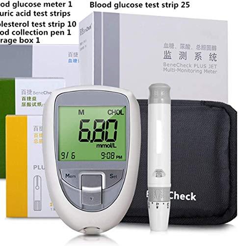 AKBQ 3 in 1 Multi-Funktions-Harnsäure-Diabetes Cholesterin-Tester Messgerät-System Blutzucker Zuckerteststreifen Lancets Kostenlos