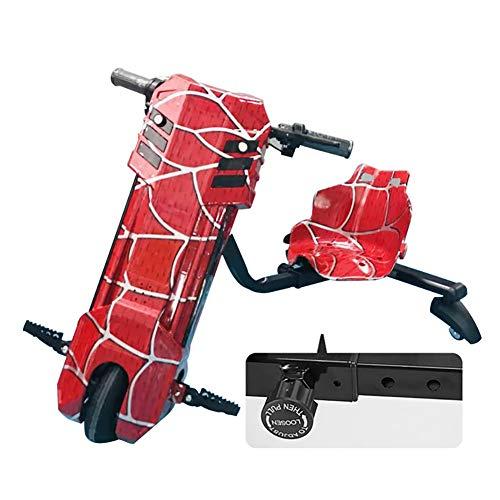 Fly Elektrokart Elektrischer Drift-Roller Mit Verstellbarem Sitz Und Kühlen Scheinwerfern ABS-Material, Kinder Jungen Und Mädchen, Ages 6 Years+,Rot